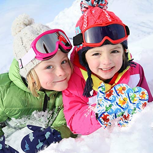 Lined Fleece Toddler Mittens Kids Winter Warm Gloves Child Ski Gloves Waterproof Snow Baby Mitten for Boys Girls