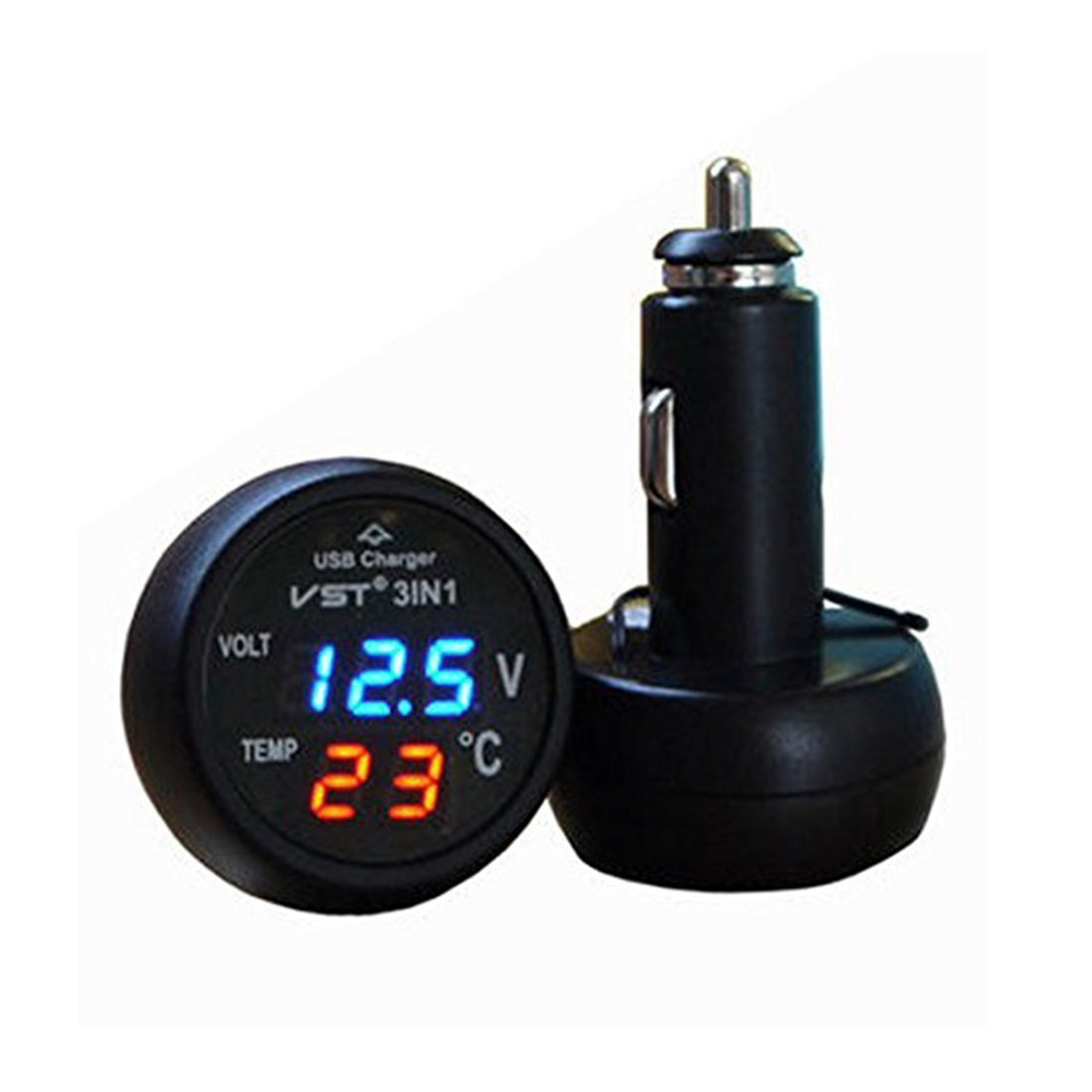TOOGOO 3 dans-1 Voltmetre numerique Thermometre 12 / 24V Allume-cigare USB Chargeur de voiture (Affichage vert et rouge) 072517A2