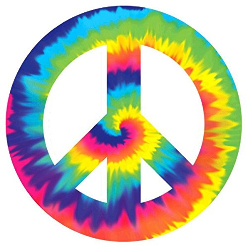 Psychedelic 60's Theme Party Peace Sign Large Cutout Decoration, Paper, (Decade Theme)