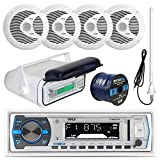 Pyle PLMRB29W MP3 USB SD Bluetooth In-Dash Radio Receiver Bundle Combo With White Marine Stereo Housing + 4x 6 1/2