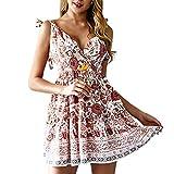 Peigen Beach Sundress, Women Summer Dress Floral Print V Neck Short Sleeve Beach Holiday Swing Mini Dress
