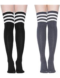 Women Over Knee Socks Thigh High Stockings Tube Athletic Stripe Cosplay