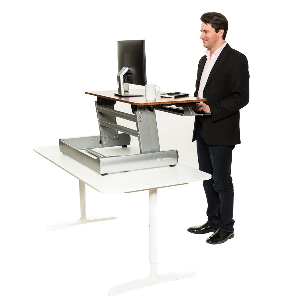 InMovement Standing Desk, Adjustable Heights for  Sitting or Standing While You Work, Light Wood, 41 X 26