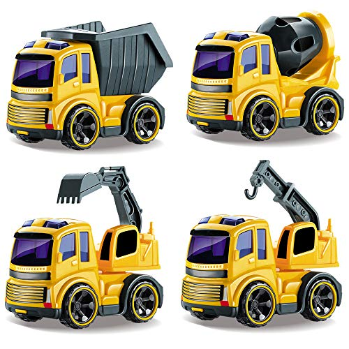 Friction Powered Trucks Push and Go Construction Vehicles Car Toys Tractor,Bulldozer,Cement Mixer Truck,Dumper Push Back Vehicles Toys for Baby Kids Boys Girls
