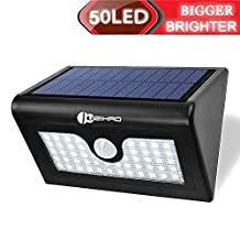 Juzihao 50 LED Outdoor Solar Motion Sensor Light, Wireless Security LED light For Patio, Yard, Garden, Home, Stair, Wall- 480 Lumens Max Super Bright, Waterproof