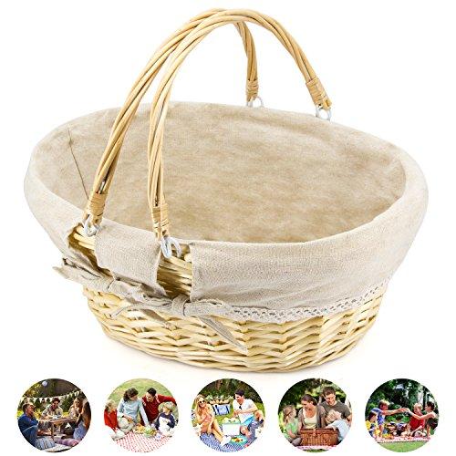Gift Picnic Basket - Durior Wicker Basket Woven Picnic Basket Empty Oval Willow Large Storage Basket with Double Handles Fruit Serving Baskets Easter Basket 15.5