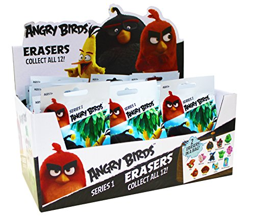 Angry Birds Die Cut Eraser Blind Bags, 2 Erasers per Blind Bag, Pack of 36 Bags (783-8PDQ) -