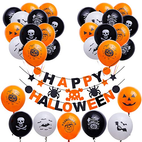 Halloween Party Decorations Latex Balloons & Happy Halloween Banner All-in-One Pack for Halloween Theme Party Supplies Decorations Kit for