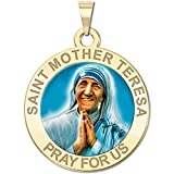 Saint Mother Teresa Religious Medal in Color 10K And14K Yellow or White Gold, or Sterling Silver