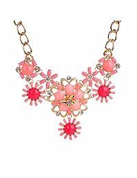 Gold Plated Women Fashion Jewelry Necklace Resin Rhinestone Flower Collar Choker