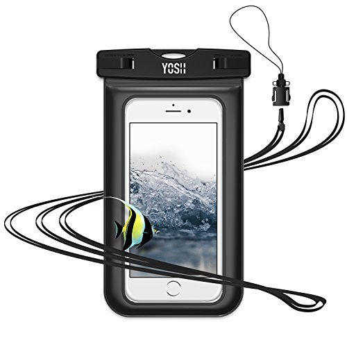 "Waterproof Case YOSH Universal Phone Dry Bag Pouch with Neck Strap for iPhone X/8/7/6/6S Plus, 5S/5C, Samsung Galaxy S9/S8/S7 Edge, Note 5/4, Compatible with Cellphone up to 6.0"" (Black)"