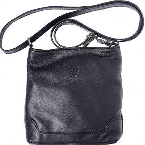 LaGaksta Mini Very Soft Italian Leather Crossbody Small Cell Phone Wallet Purse Black