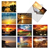 M1740BN Sun Settings: 10 Assorted Blank All-Occasion Note Cards Feature Beautiful Sunsets, w/White Envelopes.