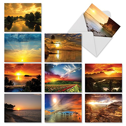 (10 Assorted Blank Note Cards 4 x 5.12 inch - Beautiful Sunset Landscape, Tropical Scenery - All Occasion Greeting Card with Envelopes - Bulk Box Set Notecard w/ Palm Trees, Ocean, Mountains - M1740BN)