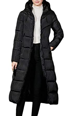 0b58f03494afc Cromoncent Women s Winter Hooded Zip-Front Puffer Fleece Long Parka Coat  Black X-Small