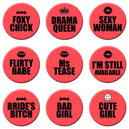 exciting Lives Bachelorette Party Badges Sexy Pins Set for 9
