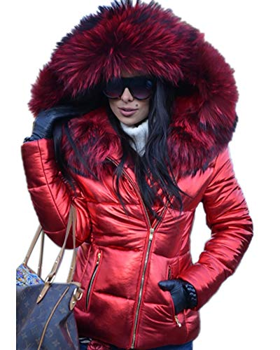 Petite Ladies Coats - Aofur Womens Ladies Quilted Winter Coat Fur Collar Hooded Down Jacket Parka Outerwear (Medium, Red)