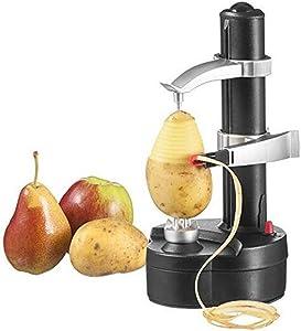 Electric Potato Peeler Automatic Rotating Apple Peeler Multifunction Stainless Steel Fruit Vegetable Potato Peeling Machine for Home Kitchen (Black)