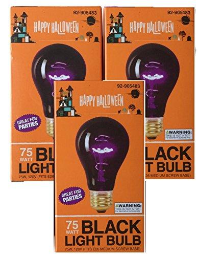 Triple Pack 75 Watt Halloween Black Light Bulbs