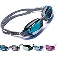 Aguaphile Mirrored Swim Goggles Soft and Comfortable - Anti-Fog UV Protection, Best Tinted Swimming Goggles with Case - Compare to Speedo, Aqua Sphere, or Ispeed - Adult Men or Women, Premium Quality