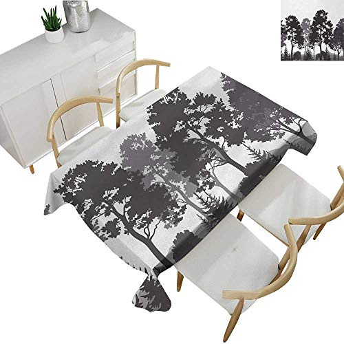 ksgiving Tablecloth Summer Forest with Pine and Fir Trees Grass Bush Silhouettes Waterproof Table Cover for Kitchen Grey White Charcoal Grey 60