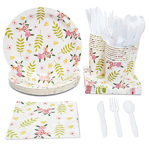 Juvale Vintage Flowers Party Supplies (Serves 24) Knives, Spoons, Forks, Paper Plates, Napkins, Cups