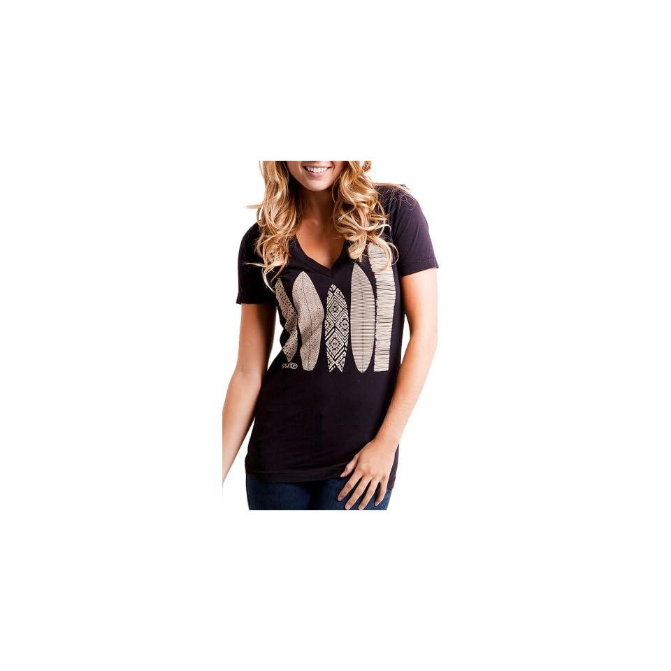 Rip Curl Storyboard Juniors V Neck T Shirt   Black (Medium)