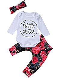 Baby Girls Little Sister Bodysuit Tops Floral Pants...