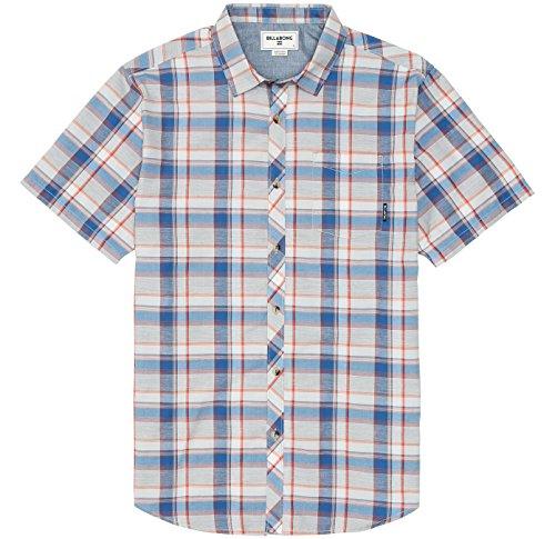 (Billabong Men's Midway Short Sleeve Woven Shirt, Grey Heather, Large)