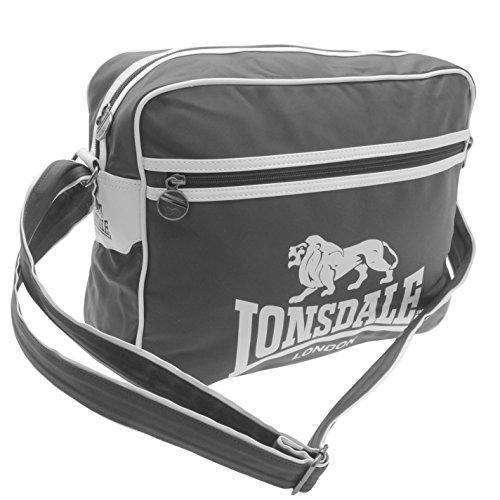 Lonsdale , Borsa Messenger  grigio scuro/bianco H 30 x L 40 x P 12 cm