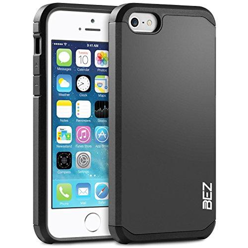 iPhone SE Hülle, iPhone 5 5S Hülle, BEZ® Stoßfestes Etui, [Heavy Duty Serie] Outdoor Dual Layer Armor Case Handy Schutzhülle [Shockproof] robuste Hülle für iPhone SE und iPhone 5 5S - Silber