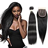 ALOT Hair 3 Part Lace Closure with Straight 3 Bundles of Brazilian Hair 7a Unprocessed Virgin Hair Bundle Deals 100% Human Hair Extensions Natural Black Hair Color(16 18 20 + 14)
