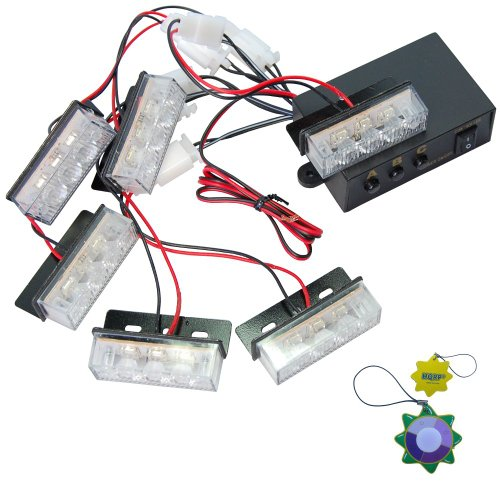 HQRP 18 White LED Car Vehicle Flashing Strobe Flash Grille Decorate Light 3 Modes plus HQRP UV Meter