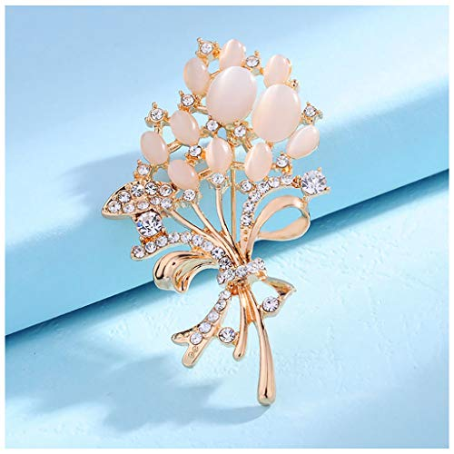 MIXIA Fashionable Clear Rhinestone Brooches Pink Blue Fire Opal Stone Flower Brooches Pin for Women Girl Garment Accessories Christmas Birthday Gift (White) -