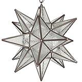 Moravian Star Pendant, Glue Chip Glass, Bronze Frame, 18''