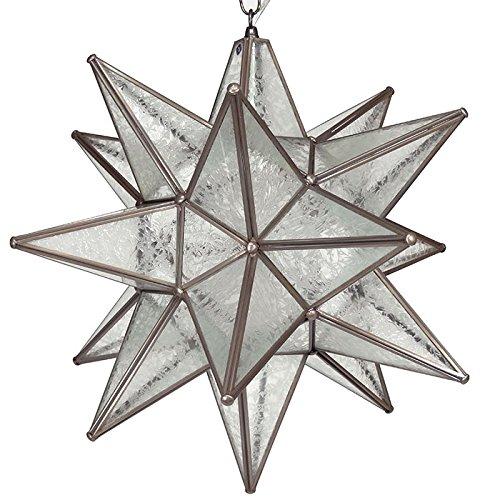 Moravian Star Pendant Glue Chip Glass Bronze Frame 18