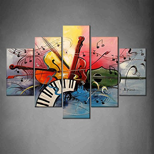 Hand Painted Framed Decorative Oil Painting Music Score Modern Music Instrument Music Carnival Guitar Home Wall Decoration Artwork Ready to Hang by uLinked Art