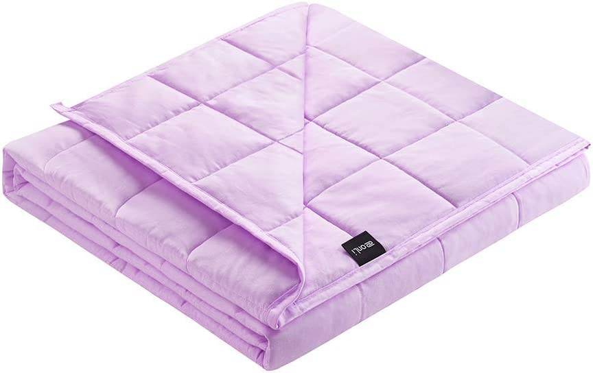 ZonLi Weighted Blanket 12 lbs(48''x72'', Twin Size, Lilac), Cooling Weighted Blanket for Adults, 100% Cotton Material with Glass Beads