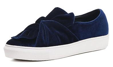 Aisun Damen Retro Samt Schleife Durchgängig Plateau Runde Zehen Flach Slip On Sneakers Blau 37 EU 92zjHu2K