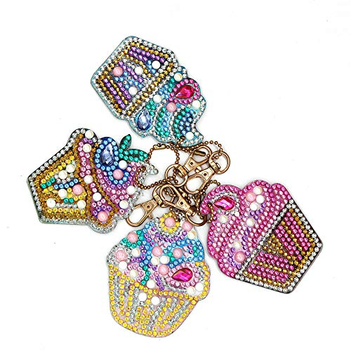4 pcs DIY Diamond Painting Keychain 5D Mosaic Making Full Drill Special Shape Diamond Painting Pendant for Art Craft Key Ring Phone Charm Bag Decor Cake