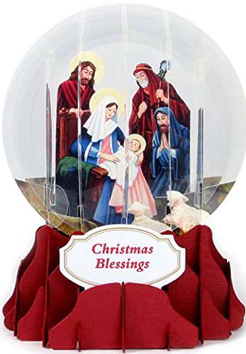 Snowglobe Nativity Scene (Nativity Snow Globe - Up With Paper Pop Up Religious Christmas Card)