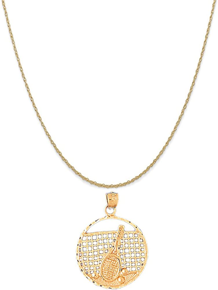 Box or Curb Chain Necklace 14k Yellow Gold Tennis Racquets Pendant on a 14K Yellow Gold Rope