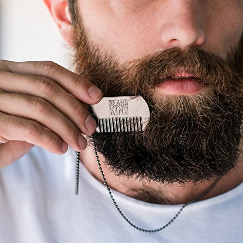BEARD KING - Comb Dog Tag Chain Necklace (Silver) - Shape Your Beard In Style