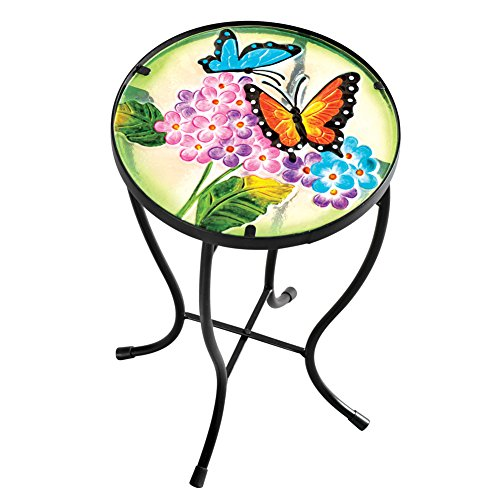 Collections Etc Garden Butterfly Glass Table