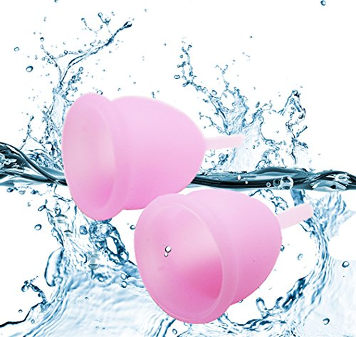 Menstrual Cups - YAMETE - Large&Small Feminine Reusable Hygiene Period Moon Cups Starter Kit Soft Silicone Economical Natural Alternative for Tampons and Sanitary Napkins Pre Childbirth, 2 PCS (Pink)