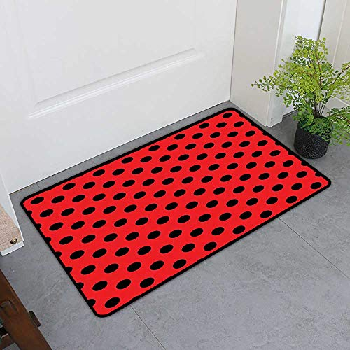 TableCovers&Home Scraper Entrance Mat, Red and Black Non-Slip Mats for Living Room, Retro Vintage Pop Art Theme Old 60s 50s Rocker Inspired Bold Polka Dots Image (Scarlet, H24 x W36) (Retro Rocker Boat)