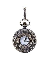 LF stores Relojes de Bolsillo Reloj de Bolsillo de patrón clásico esculpido Reloj de Bolsillo de Cuarzo Vintage con Cadena for Hombres Mujeres Reloj con Cadena (Color : Latón, tamaño : Un tamaño)