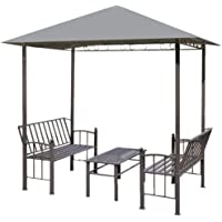 vidaXL Garden Pavilion with Table and Benches Anti-UV Outdoor Shelter Lounge Sunshade Canopy for Backyard Patio Lawn…