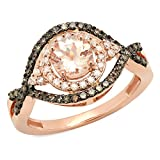 14K Rose Gold Morganite, Champagne & White Diamond Bridal Halo Style Engagement Ring (Size 8)