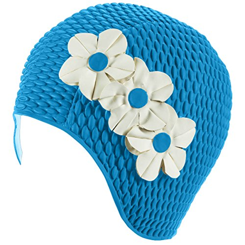 Latex Bubble Crepe Swim Bathing Cap with 3 Flowers - Light Blue with White Flowers